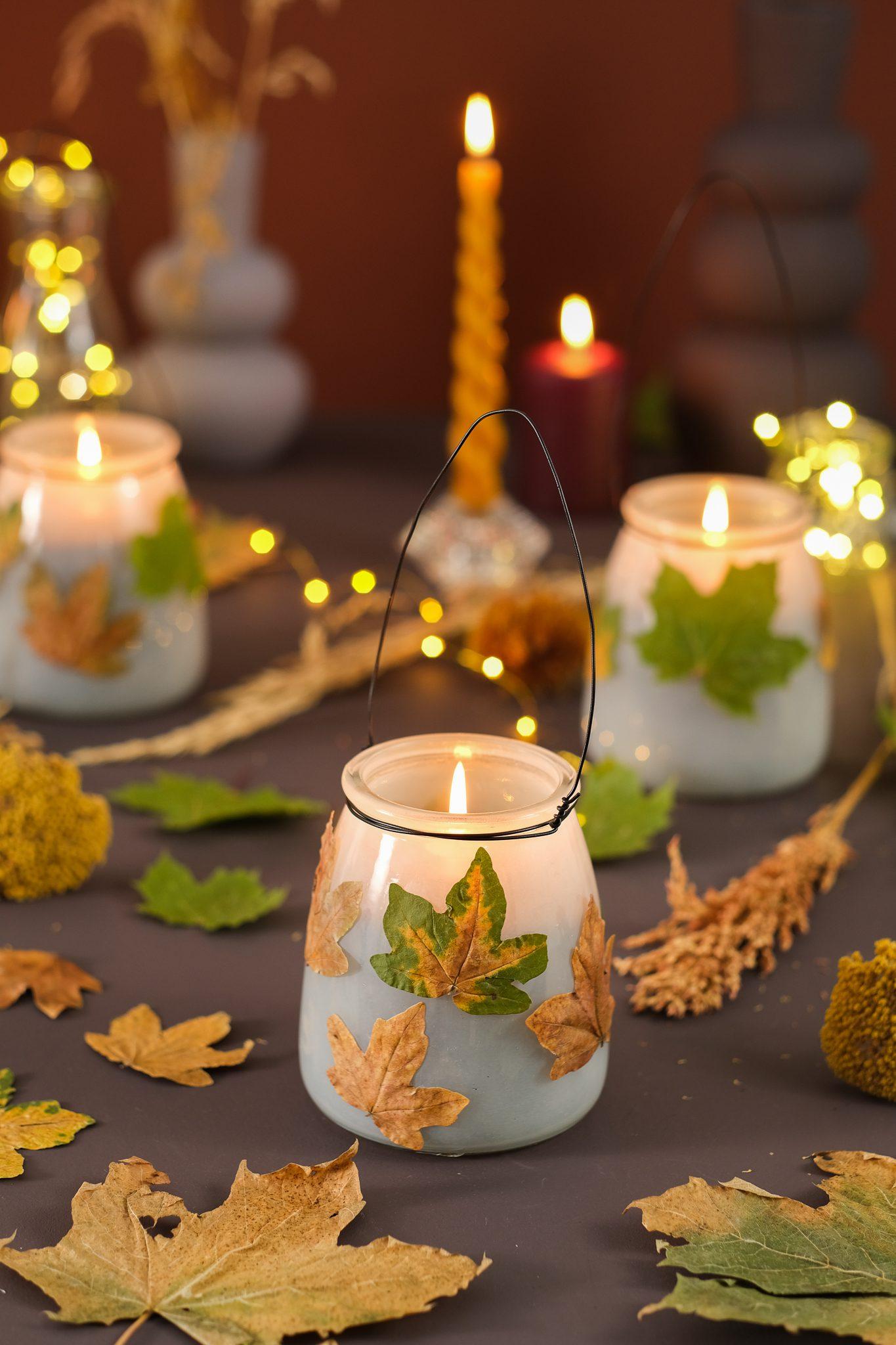 Kreativ med tørrede blade fra skoven . Sådan laver du lanterner til efteråret.